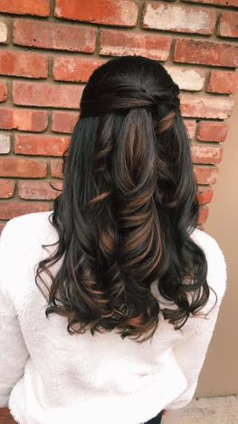 long brown highlighted hair with waves